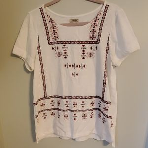 Lucky Brand Peasant Embroidered Top